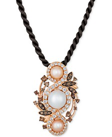 "Le Vian® Cultured Freshwater White Pearl (9mm), Pink Pearl (6mm) & Multi-Gemstone (1-7/8 ct. t.w.) 18"" Pendant Necklace in 14k Rose Gold"