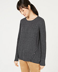 Charter Club Cashmere Cable-Knit Button-Trim Sweater, Created for Macy's