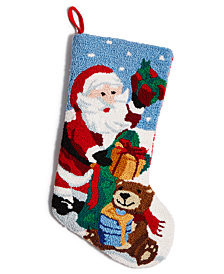 Holiday Lane Hand-Hooked Santa Stocking, Created for Macy's