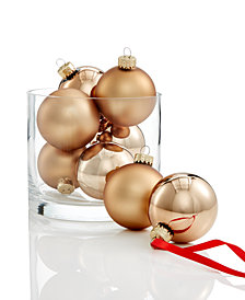 Holiday Lane Glass Solid Color Copper Ball Ornaments, Set of 8, Created for Macy's