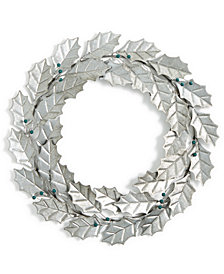 Holiday Lane Blueberry Iron Holly Leaf Wreath, Created for Macy's