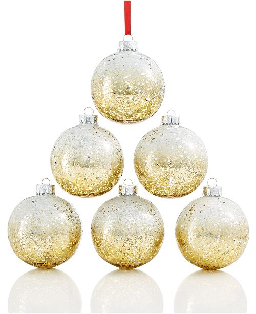 Holiday Lane Shatterproof Sequin Gold Rose Gold Ball Ornaments Set