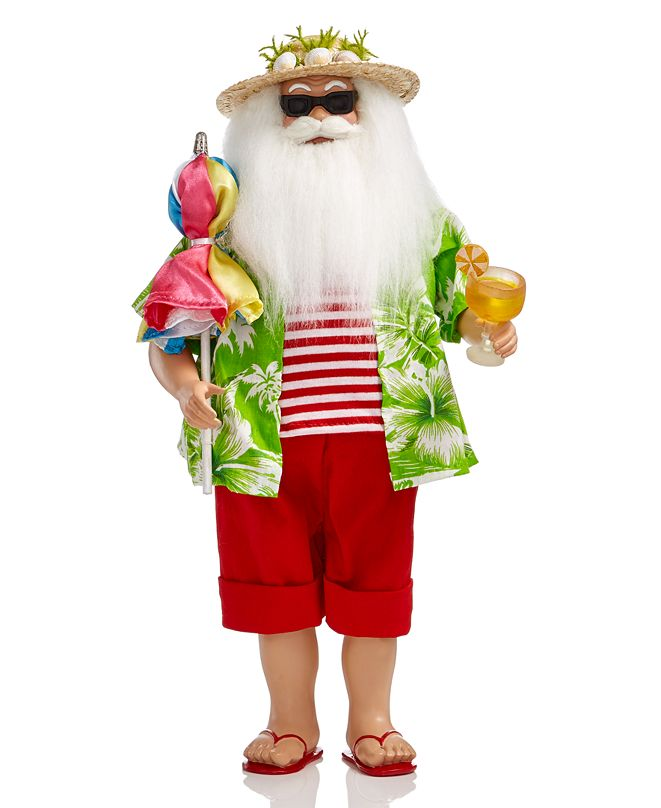 Holiday Lane Beach Santa with Umbrella & Drink, Created for Macy's