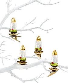 Holiday Lane Glass Candle Ornaments with Clips, Set of 4, Created for Macy's