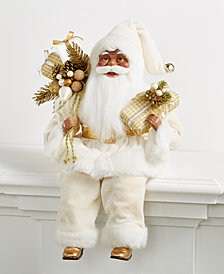 Holiday Lane African-American Ivory & Gold Sitting Santa Holding Presents, Created for Macy's