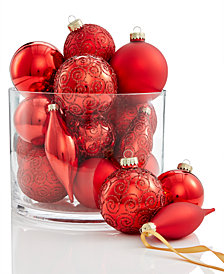 Holiday Lane Red Glass Ball/Drop Ornaments with Glitter Scroll Pattern, Set of 22, Created for Macy's