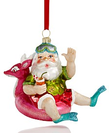 Holiday Lane At the Beach Santa on a Floatie Ornament Created For Macy's