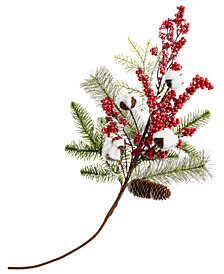 Holiday Lane Cotton & Red Berries Pick Ornament, Created for Macy's