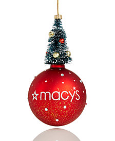 Holiday Lane Macy's Tree-Topped Glass Ball Ornament, Created for Macy's