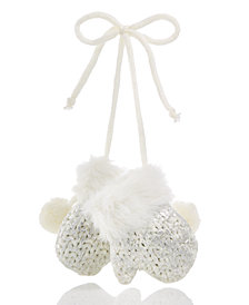 Holiday Lane White Mitten with Silver Foil Ornament, Created for Macy's
