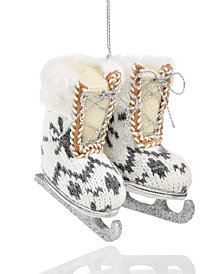 Holiday Lane Knit Ice Skates with Silver Glitter Ornament, Created for Macy's