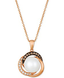 "Cultured Freshwater Pearl (9mm) & Diamond (1/8 ct. t.w.) 18"" Pendant Necklace in 14k Rose Gold"