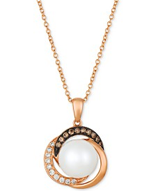 "Le Vian® Cultured Freshwater Pearl (9mm) & Diamond (1/8 ct. t.w.) 18"" Pendant Necklace in 14k Rose Gold"
