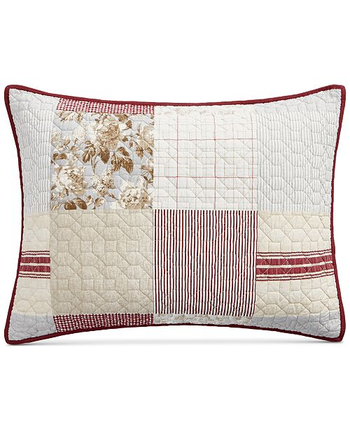 Martha Stewart Collection Farmhouse Reversible Patchwork Quilted Standard Sham, Created for Macy's