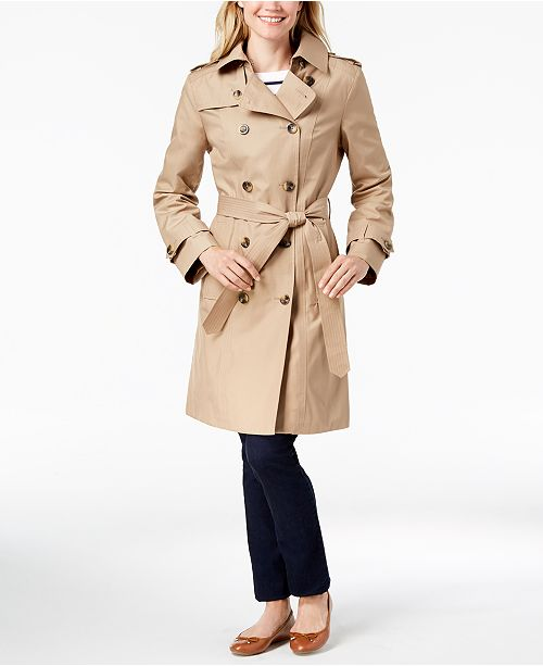 London Fog Hooded Double-Breasted Trench Coat   Reviews - Coats ... 68b75e224