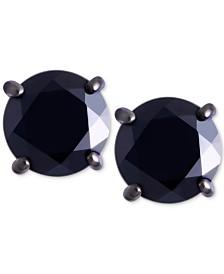 Men's Black Sapphire Stud Earrings (2 ct. t.w.) in Black Rhodium-Plated Sterling Silver