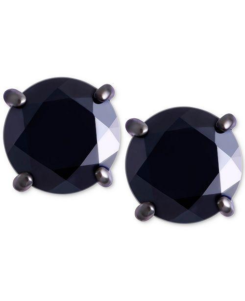 Macy's Men's Black Sapphire Stud Earrings (2 ct. t.w.) in Black Rhodium-Plated Sterling Silver