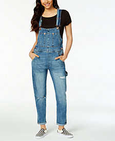 M1858 Harley Ripped Cuffed Denim Overalls