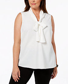 Kasper Plus Size Tie-Neck Shell