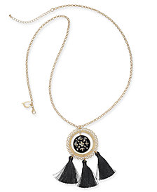 "Thalia Sodi Gold-Tone Crystal, Enamel & Tassel Pendant Necklace, 36"" + 3"" extender, Created for Macy's"