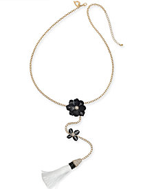 "Thalia Sodi Two-Tone Crystal Flower & Tassel 27"" Lariat Necklace, Created for Macy's"