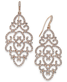 I.N.C. Rose Gold-Tone Pavé Openwork Drop Earrings, Created for Macy's