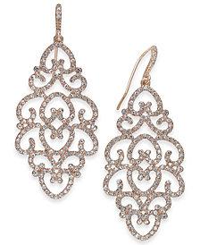 I.N.C. Rose Gold-Tone Pavé Openwork Drop Earrings, Created for Macy's