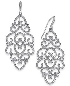 INC Silver-Tone Pavé Openwork Drop Earrings, Created for Macy's