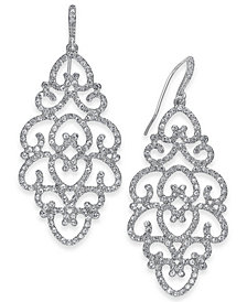 I.N.C. Silver-Tone Pavé Openwork Drop Earrings, Created for Macy's