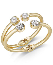I.N.C. Gold-Tone 2-Pc. Set Crystal & Imitation Pearl Bangle Bracelets, Created for Macy's