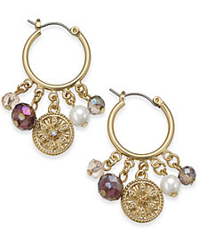 Charter Club Gold-Tone Coin, Bead & Imitation Pearl Hoop Earrings, Created for Macy's