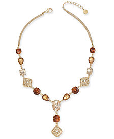 "Charter Club Gold-Tone Multi-Stone & Crystal Lariat Necklace, 17"" + 2"" extender, Created for Macy's"