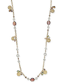 "Charter Club Gold-Tone Coin, Bead & Imitation Pearl Strand Necklace, 41"" + 2"" extender, Created for Macy's"