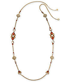 "Charter Club Gold-Tone Multi-Stone & Crystal Statement Necklace, 42"" + 2"" extender, Created for Macy's"