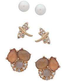 lonna & lilly Gold-Tone 3-Pc. Set Crystal, Stone & Imitation Pearl Stud Earrings