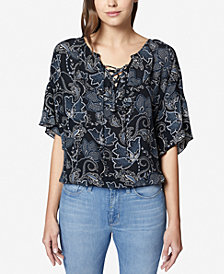 Sanctuary Nicola Printed Lace-Up Top