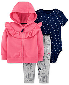 Carter's Baby Girls 3-Pc. Cotton Ruffled Hoodie, Bodysuit & Dog-Print Pants Set