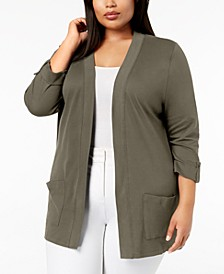 Plus Size Cotton 3/4-Sleeve Cardigan, Created for Macy's