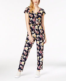 Derek Heart Juniors' Printed Short-Sleeve Jumpsuit