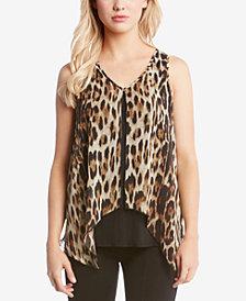 Karen Kane Sheer Leopard-Print Overlay Top