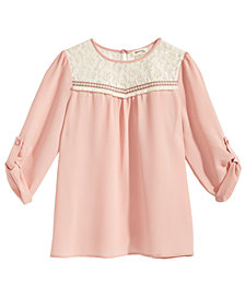 Monteau Big Girls Lace-Trim Top