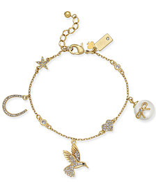 kate spade new york Gold-Tone Crystal & Imitation Pearl Charm Bracelet