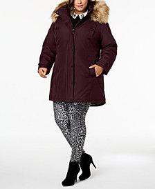 Madden Girl Juniors' Hooded Faux-Fur-Trim Coat