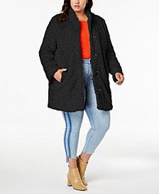 Kenneth Cole Plus Size Faux-Fur Teddy Coat