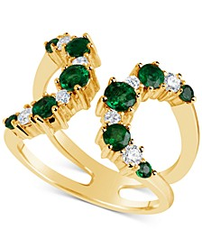 Emerald (9/10 ct. t.w.) & Diamond (1/3 ct. t.w.) Open Cuff Ring in 14k Gold, Also available in Ruby (1-1/4 ct.t.w.)