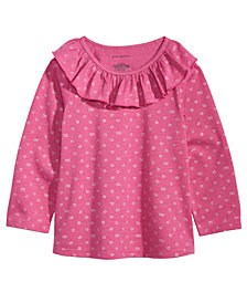 First Impressions Baby Girls Printed Ruffle-Neck T-Shirt, Created for Macy's