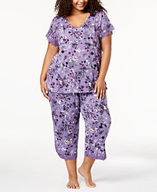 I.N.C. Plus Size Lace-Trim V-Back Pajama Set, Created for Macy's
