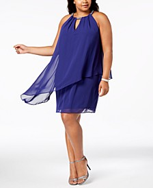 Plus Size Chiffon-Overlay Shift Dress