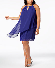 Jessica Howard Plus Size Chiffon-Overlay Shift Dress