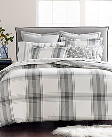 Martha Stewart Collection Grayscale Plaid Cotton Flannel Twin Duvet Cover, Created for Macy's